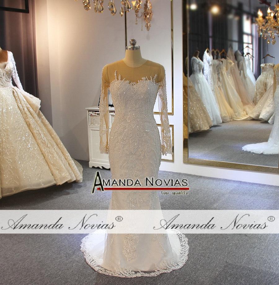 Image 5 - 2019 Amanda Novias full lace wedding dress mermaid with detachable skirt long trainWedding Dresses   -