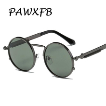 Pop Age 2018 Newest Round Steampunk Sunglasses Women Men Arm Green Lens Spring legs Sun glasses Male Vintage Oculos de sol 400UV