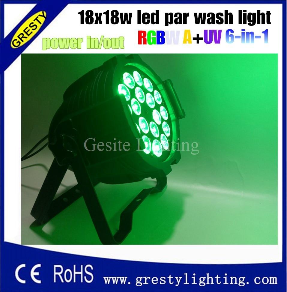 2pcs/lot Led Led Par Light 18pcs 18W RGBWAUV DMX Control For Party Disco Par Light 2 pcs lot
