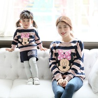 Winter Family Look Mommy and Me Clothes Matching Family Clothing Sets 100% Cotton Striped Mother Daughter Father Baby T shirt