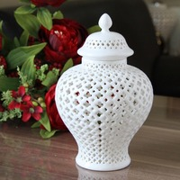 H38cm Tall CHINESE WHITE COLOR GLAZED PORCELAIN CERAMIC TEMPLE JAR/GINGER JAR Vase Decoration Home Vases