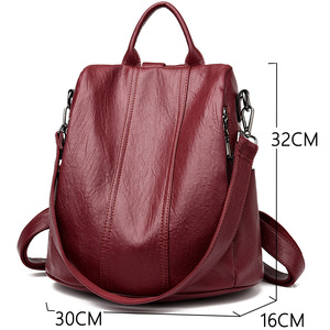 Image 2 - Women Waterproof anti theft Leather Backpacks Bags For Girls Female Shoulder Bag Multifunction Traveling Backpack Mochilas