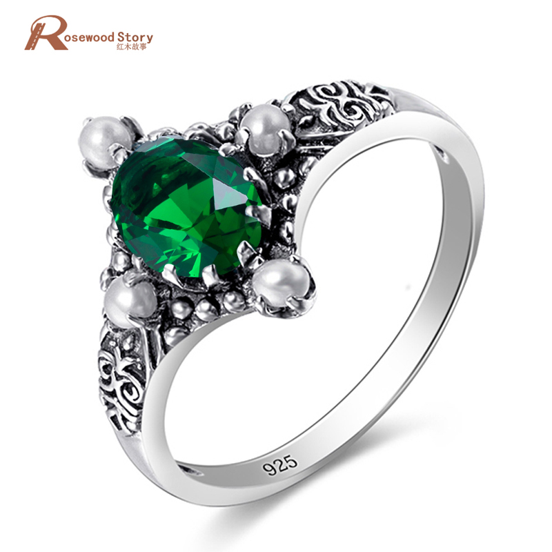 Genuine 925 Sterling Silver jewelry Green Crystal Vintage Fashion Jewelry Pearl Rings for women Wedding Luxury Brand Jewelry
