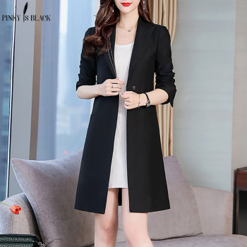 PinkyIsBlack Spring Autumn Suit Blazer Women 2019 New Casual Single Button Pocket Long Jackets Elegant Sleeve Blazers