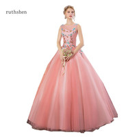 ruthshen Cameo Brown Quinceanera Dresses Sleeveless Appliques Beaded Vestido 15 Quinceanera Party Dresses For Young Girl
