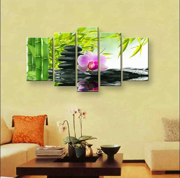 wall art Purple flowers water side home decoration abstract ...