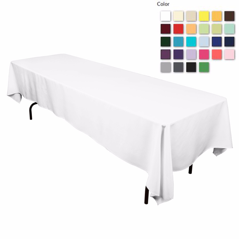 HK DHL Stain Feel 152*320cm Polyester Rectangle Tablecloth White for Wedding, 5/Pack ...