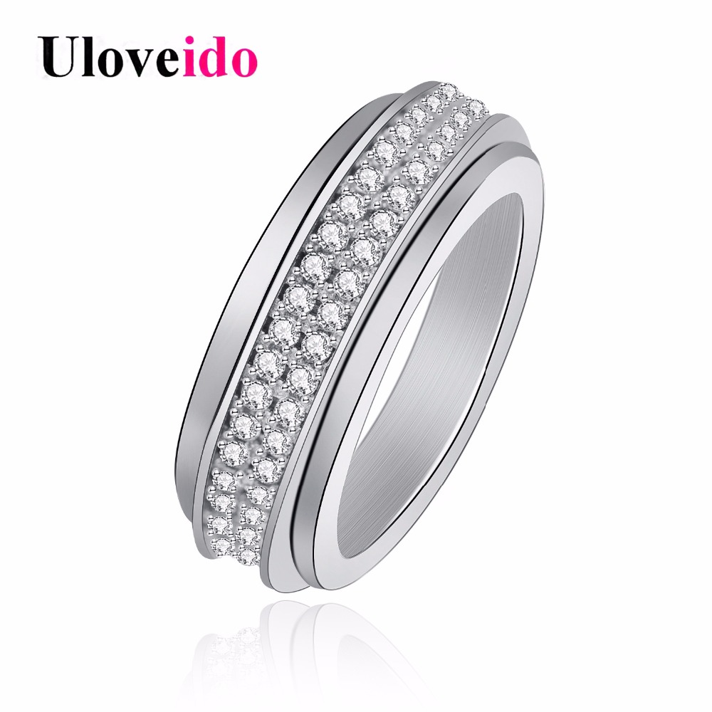 Uloveido Spinner Rings for Women Rotatable Engagement Ring Female Cubic Zirconia Wedding Jewelry Decoration Dropshipping Y340