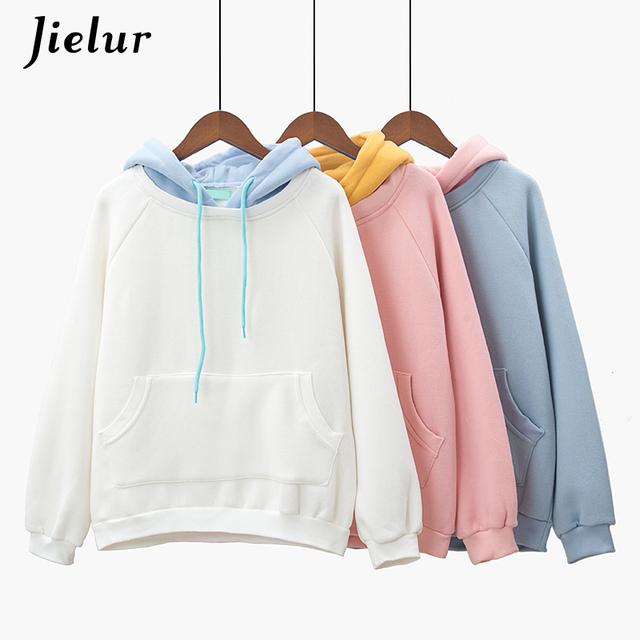 Jielur Kpop Fashion Kawaii Hoodie Harajuku Hit Color Fresh Pink Sweatshirt Women Warm Fleece Hooded Sudadera Mujer 2018 Winter
