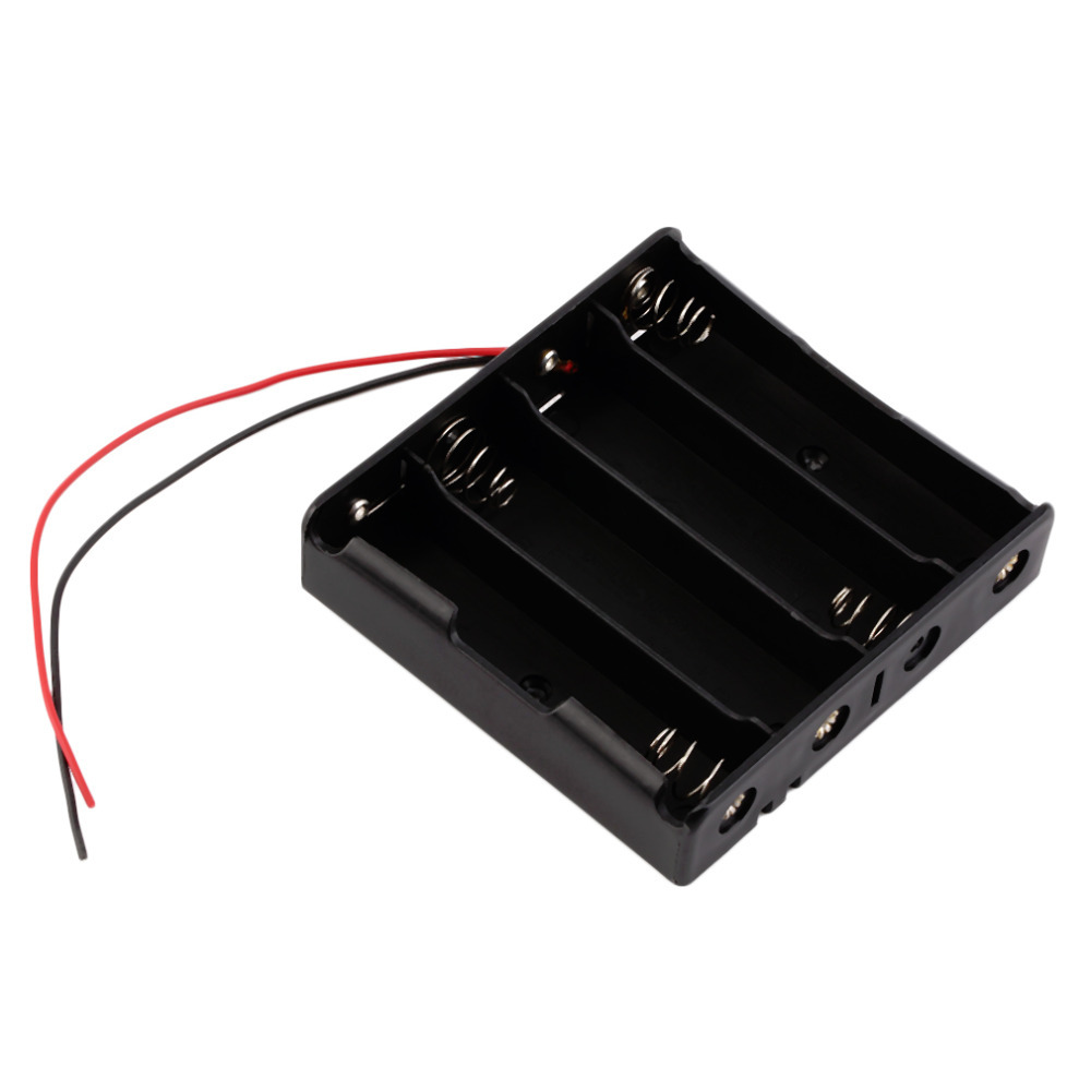 Box-Holder Storage-Case Battery Plastic 4x18650 for with Wire-Leads Wholesale title=
