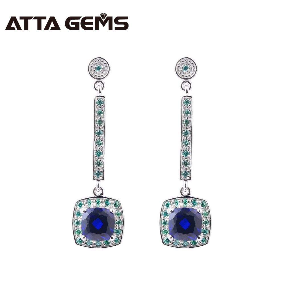Blue Sapphire Sterling Silver Drop Earring For Women Special Design Created Sapphire Women Wedding Party Silver Jewelry