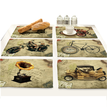 Retro Cartoon Car Gramophone Print Bar Dining Table Mat Drink Coasters Manteles Individuales Doilies Drawer Liner placemat bowl