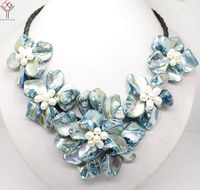 Women Jewelry natural white pearl light blue 5 flowers pendant shell mother of pearl necklace black leather 18