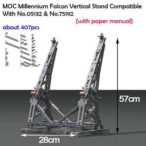Image 1 - 407pcs כוכב MOC מלחמת המילניום צעצועי פלקון אנכי תצוגת Stand תואם עם 05132 75192 אולטימטיבי אספן של דגם