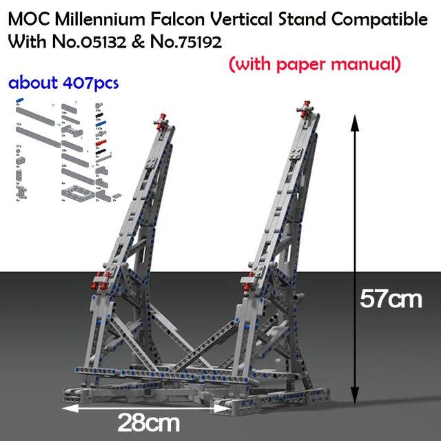 407pcs כוכב MOC מלחמת המילניום צעצועי פלקון אנכי תצוגת Stand תואם עם 05132 75192 אולטימטיבי אספן של דגם