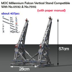 407pcs Star MOC War Millennium Falcon Vertical Display Stand Compatible with LegoINGly 05132 75192 Ultimate Collector's Model