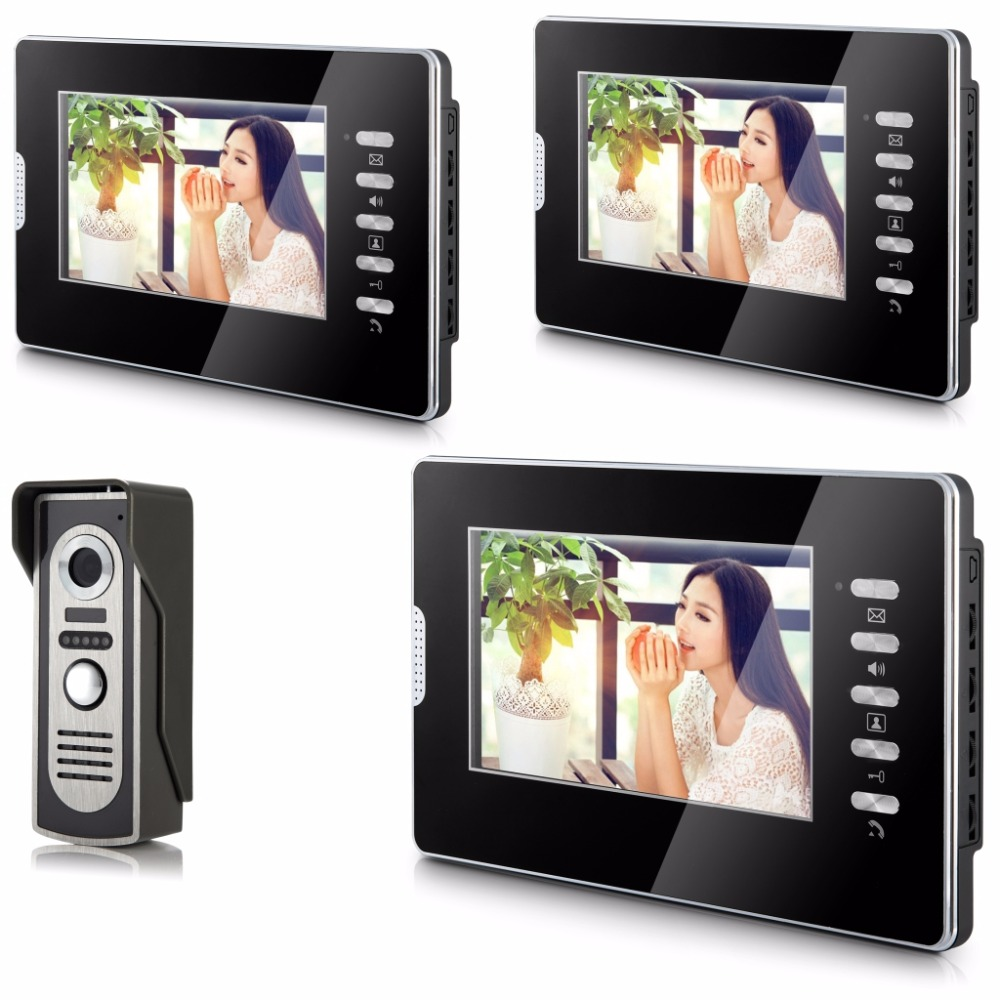 SmartYIBA Video Intercom 7''Inch Monitor Wired Video Doorbell Door Phone Speakephone Intercom System 3 Monitor 1 Camera For Home