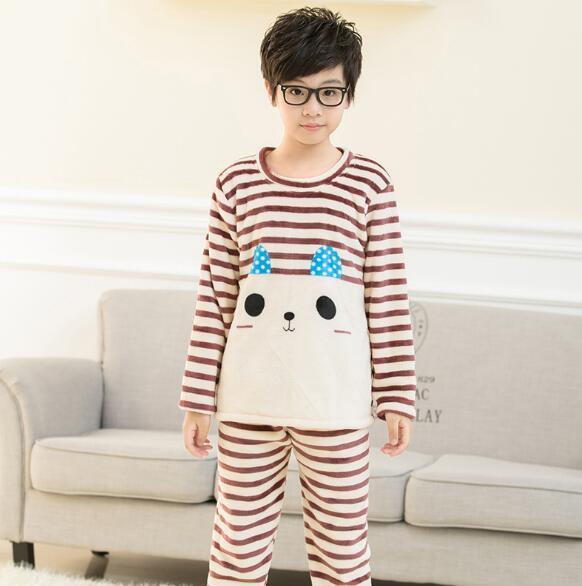 Autumn   Winter Kids Pajamas set Coral fleece warm child sleepwear Flannel  fabric High quality Kids c74f8e2b7