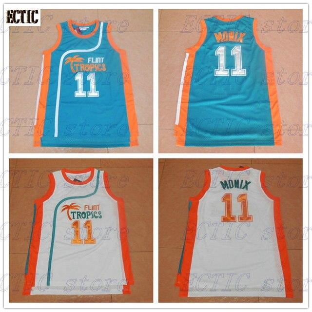 2018 White Basketball Jerseys Throwbak 11 ED Monix Jersey Flint Tropics  Semi Pro Movie Embroidered White Mens Basketball Jersey c9459393e