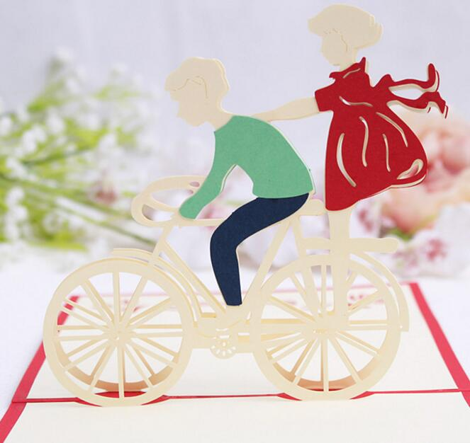 10pcs lovers bicycle handmade kirigami origami 3d pop up greeting 10pcs lovers bicycle handmade kirigami origami 3d pop up greeting cards invitation postcard for birthday wedding party gift in cards invitations from home stopboris Image collections