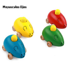 ZH 1PC Wooden Color Toy Mouse Rattles Holding A Car Model Children's Cognitive Aids(China)