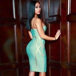 Image 5 - Adyce 2020 nowa letnia bandażowa sukienka kobiety Sexy Spaghetti pasek bez rękawów klub kolano długość suknie wieczorowe w stylu gwiazd