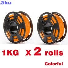 2 לחמניות/חבילה אחת רול 1KG PLA צבעוני נימה/spool חוט reprap 3D מדפסת 3mm נימה