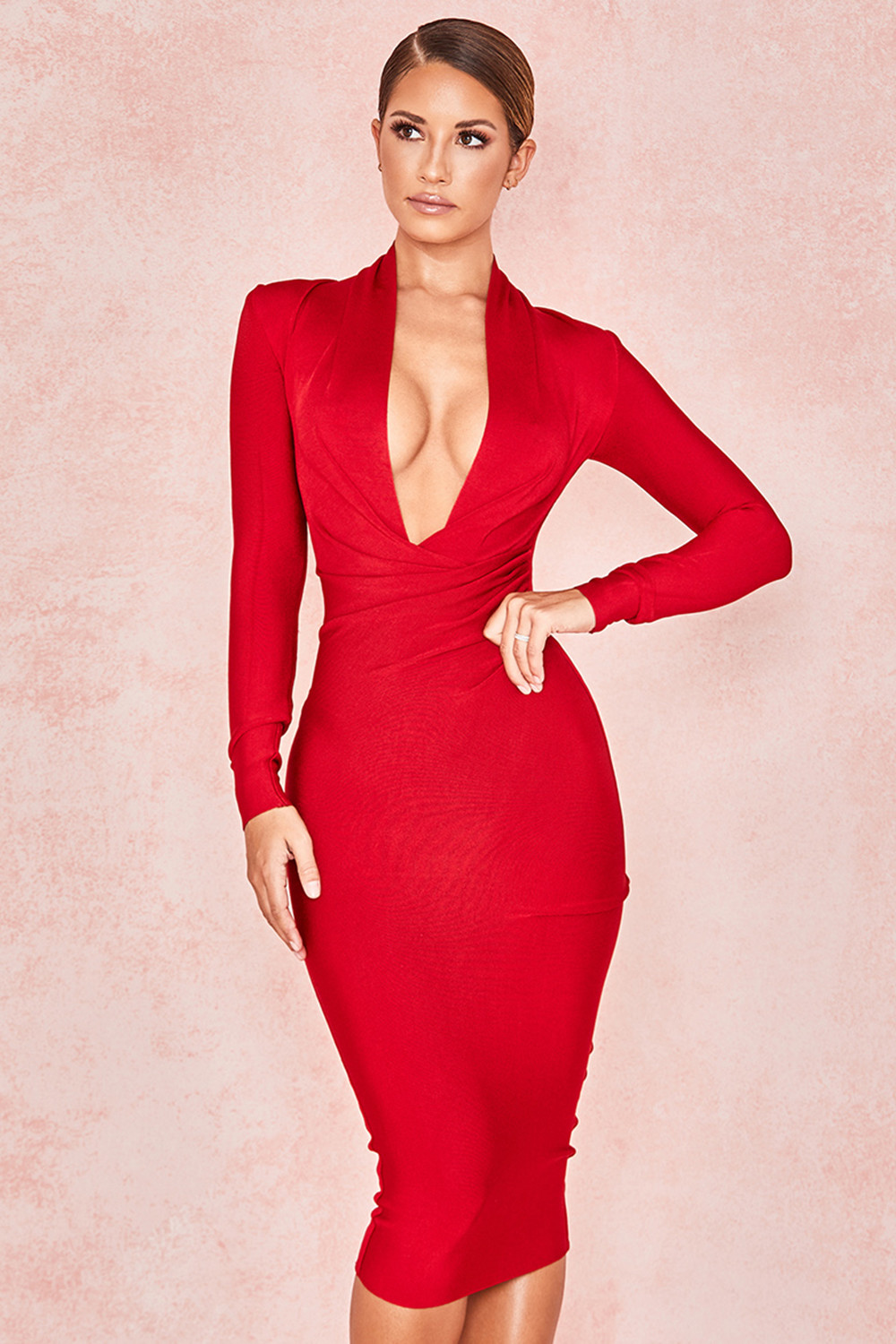 KLEEZY New Fashion Sexy Party Stand Deep V-Neck Full Sleeve Bodycon Mid-Calf Club Sheath Bandage Dress 6 Color HL4033