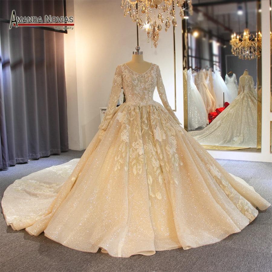 2019 luxury shinny wedding dress robe de soiree long sleeves muslim bridal dress