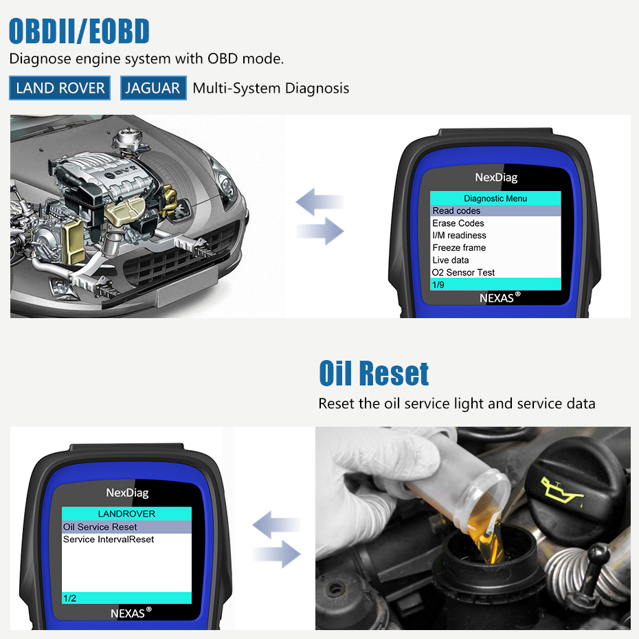 US $100 7 24% OFF|NEXAS OBD2 Scanner for Land Rover Discovery Jaguar XF  Freelander Range Rover DPF ABS SRS Airbag Diagnostic Tool Oil Reset  ND602-in