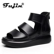 ab3be4180ea Fujin marca 2019 de cuero genuino de las mujeres de verano suave botas  tobillo antideslizante para ladys zapatos mujer plataform.