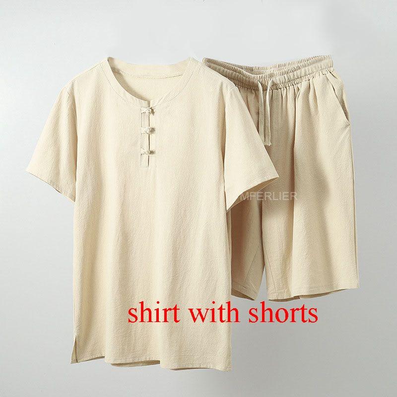 MFERLIER Summer men shirt 5XL 6XL 7XL 8XL 9XL 10XL Bust 157-162cm plus size linen large size shirt with shorts men 5 colors 16
