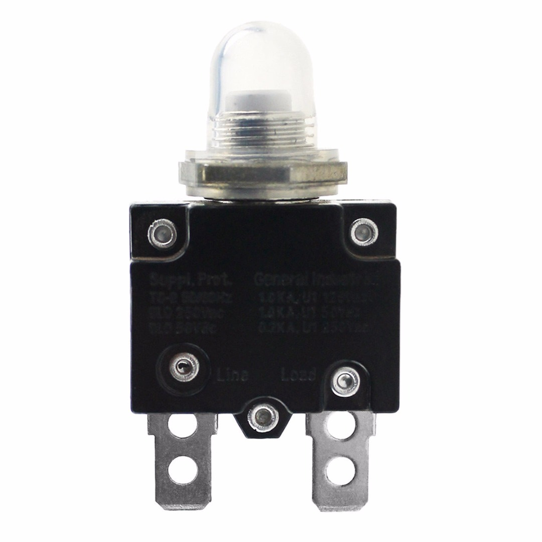 12//24V Push Button Resettable Thermal Circuit Breaker Panel Mount 5 10 15 20 30A