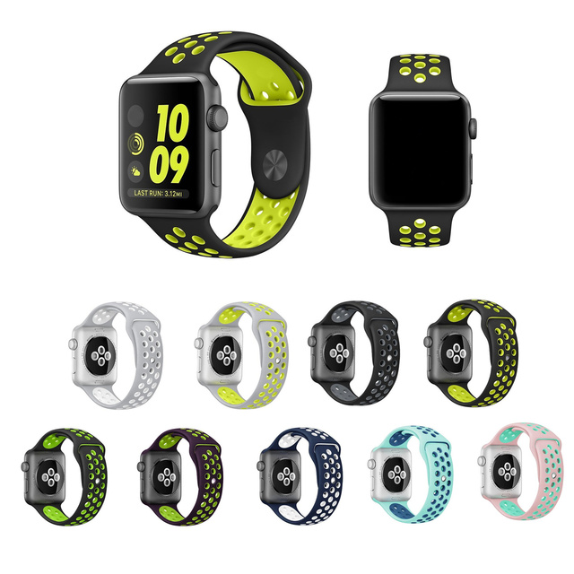 New arrival colorful Silicone strap for iwatch Series1 2 apple watch NIKE 42mm Rubber sport bracelet wrist band men With Adapter