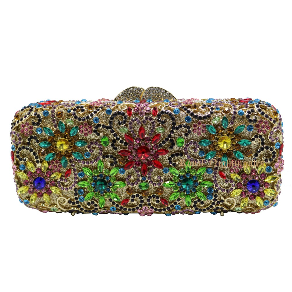 ФОТО Flower Clutch Purse Luxury Women Crystal Evening Clutch Bags