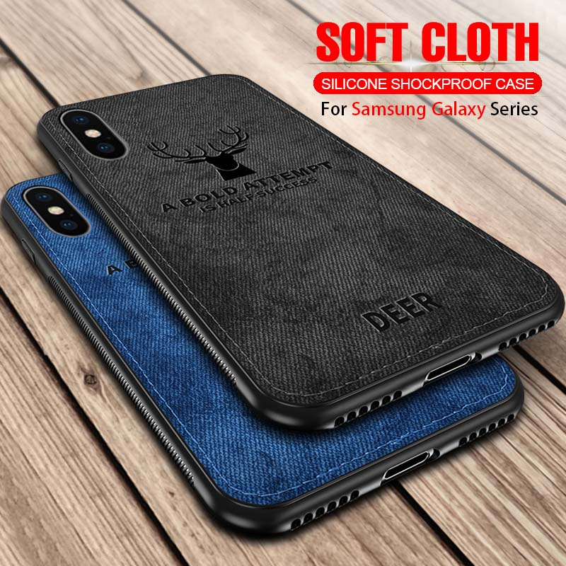 Fabric Canvas Phone <font><b>Case</b></font> For <font><b>Samsung</b></font> Galaxy A30 A50 <font><b>A10</b></font> J4 J6 Plus J8 A9 A7 2018 A750F M10 M20 M30 Cloth Texture Cover Coque 50a image