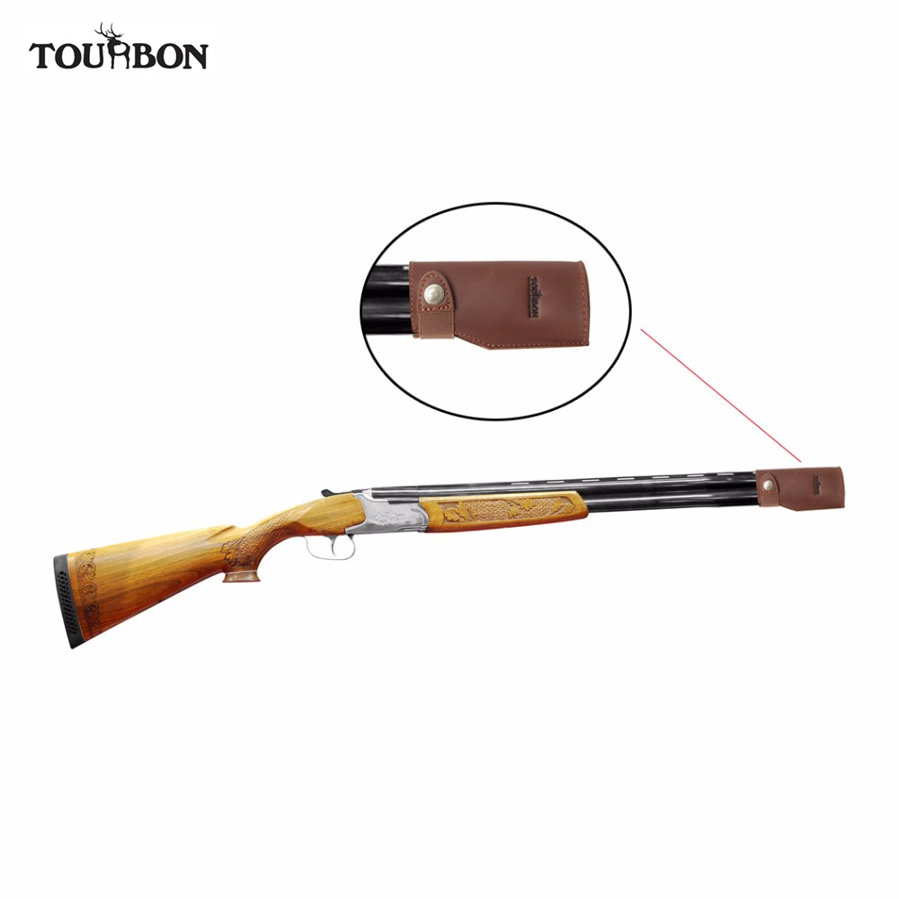 Tourbon Hunting Gun Barrel Protector Genuine Leather Holder Pouch Protection Aganist Clay Brown Shooting Gun Accessories