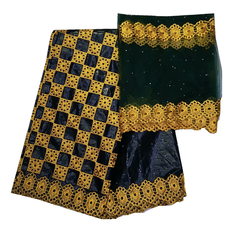 Black bazin riche getzner african fabric with embroidery bazin brode getzner with tulle lace tissu africain