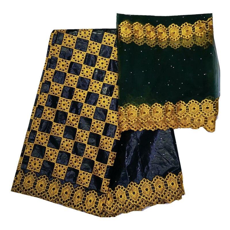 Noir bazin riche getzner tissu africain avec broderie bazin brode getzner avec tulle dentelle tissu africain broderie coton-in Tissu from Maison & Animalerie    1
