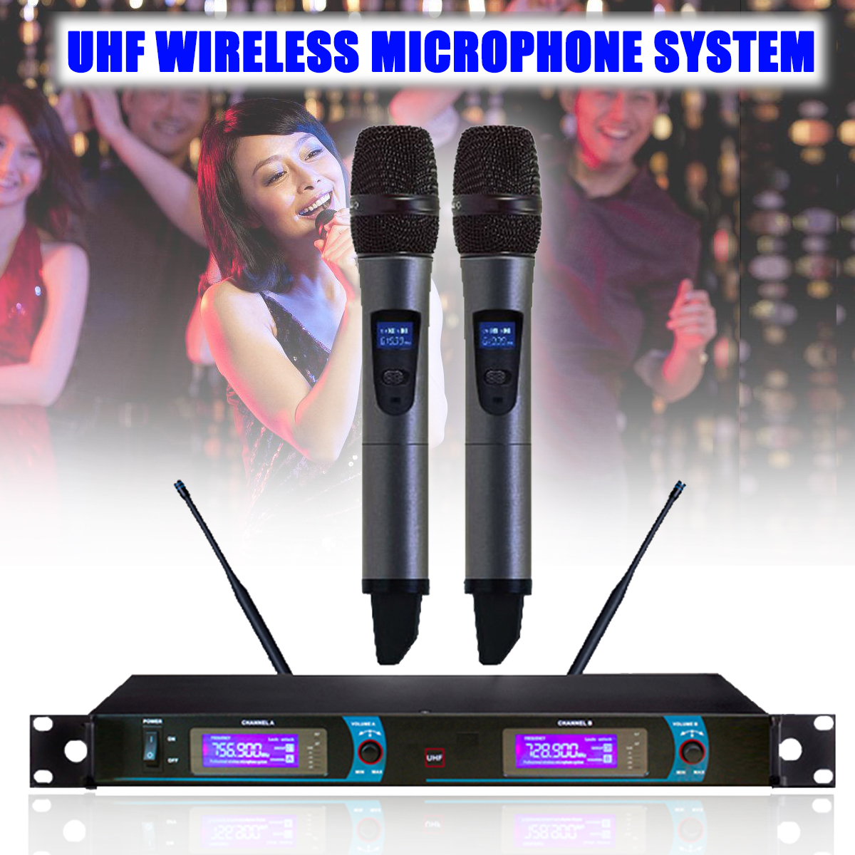 цена на LCD Display UHF Wireless Dual Handheld Microphone Mic System Home KTV Karaoke DJ Wireless Microphone Profesional