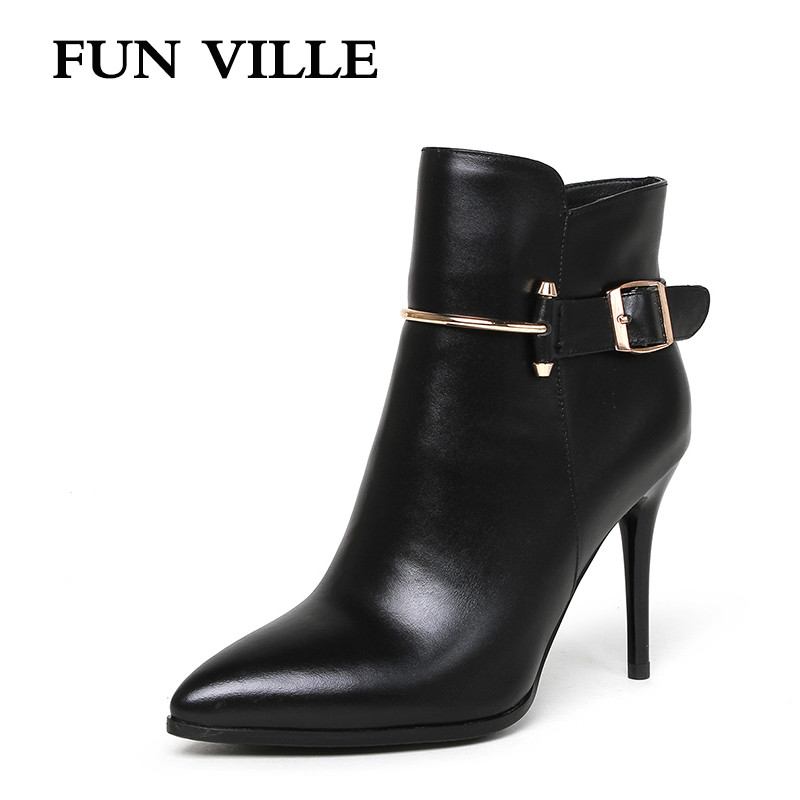 FUN VILLE 2017 Autumn Winter Women Ankle Boots Genuine leather High heel Solid Pointed toe Zipper sexy Ladies shoes size 34-42