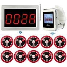 Беспроводной пейджер ресторан система вызова tivdiovoice отчетности хоста получателя + часы наручные приемник + передатчик вызова и пуговицы 433 мГц