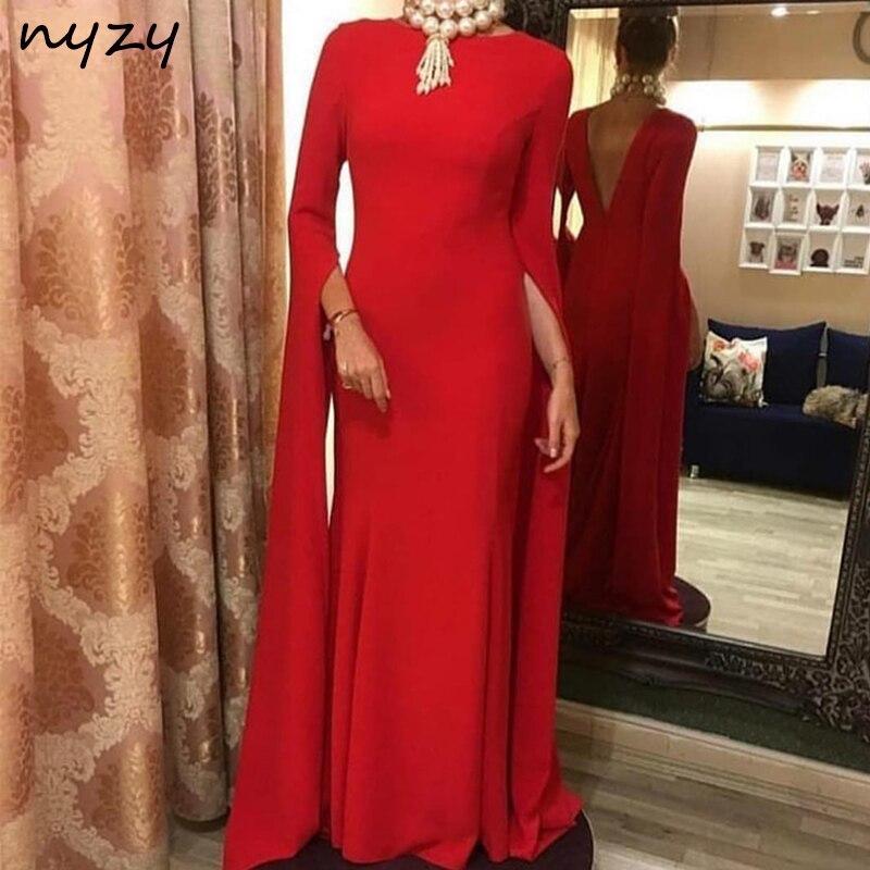 NYZY E4 Robe rouge 2019 Robe formelle femmes élégante Robe Vestido Longue dos nu sirène rouge Robe de soirée avec Cape manches longues