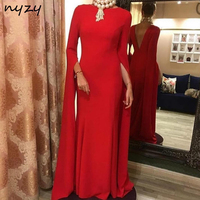 NYZY E4 Red Gown 2019 Formal Dress Women Elegant Robe Vestido Longue Backless Mermaid Red Evening Dress with Cape Long Sleeves