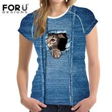 FORUDESIGNS Denim 3D Dog Cat T-Shirt Women Tees Cloth High Quality Vogue Causal Summer T Shirt For Female Clothes Crop Top 2018
