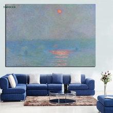 YWDECOR – peinture à l'huile sur toile avec Impression HD, image murale de paysage, Impression du lever du soleil, de johnny Monet, pour salon