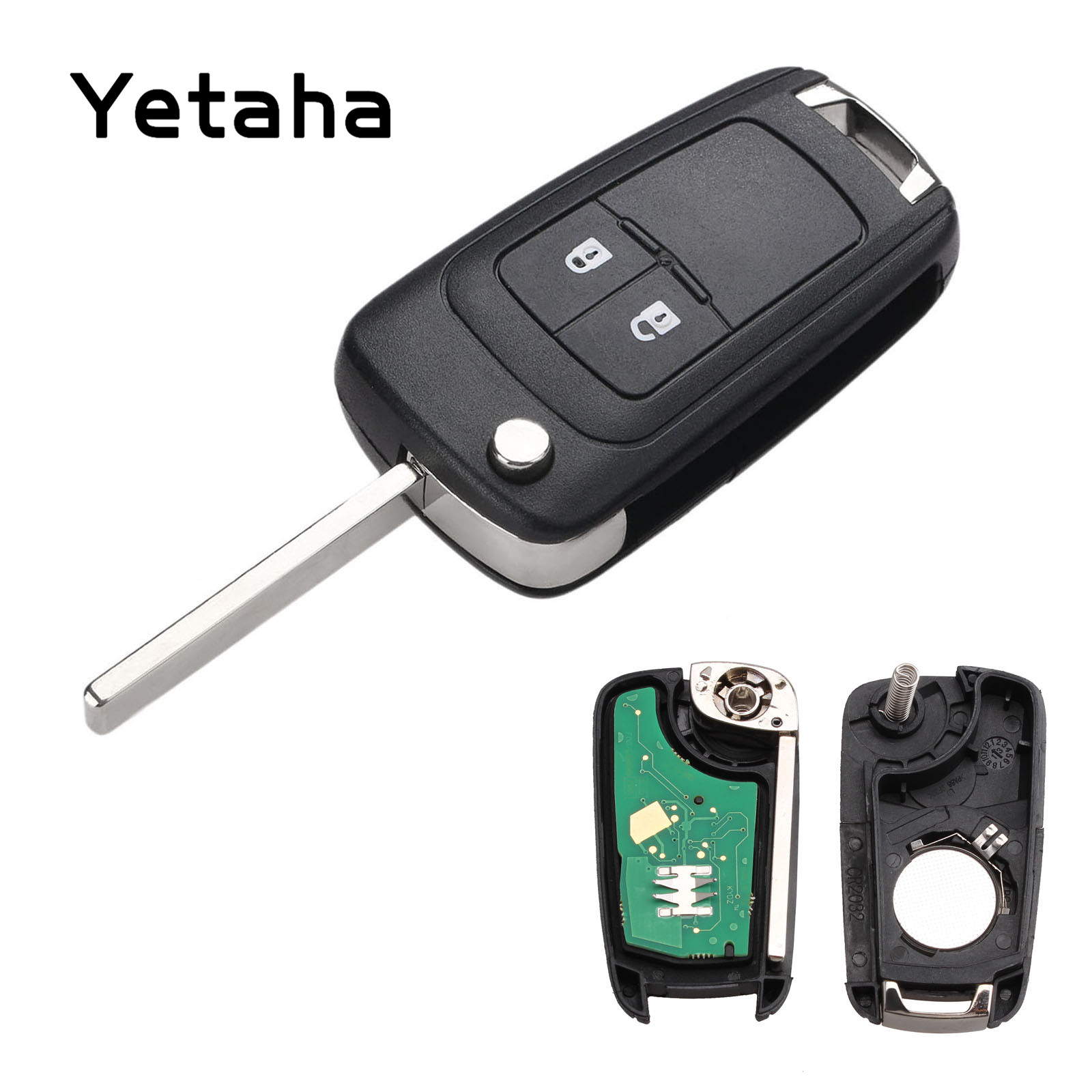 Yetaha 2 Buttons Car Remote Key 433MHz Fit For Chevrolet