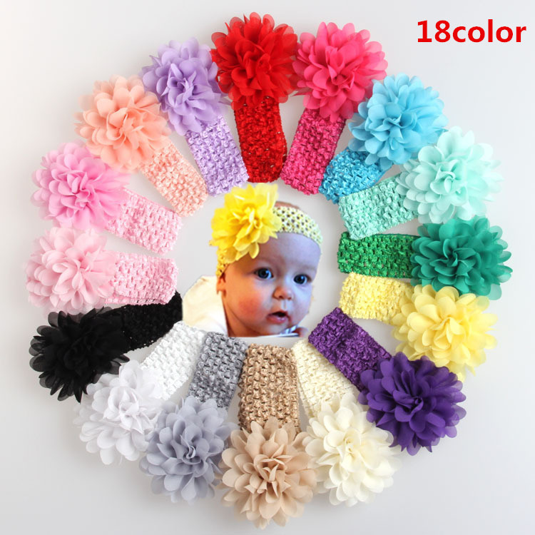 Pack Of 18 Colors Baby Girls Headband Infant Lace Hair Chiffon Flower Accessories Toddler Hair Weave Band Baby Hair Accessories