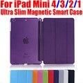 Смарт-Чехол Для iPad Mini4 Ultra Slim Кожа PU Case + PC прозрачный вернуться case для Apple ipad mini 4 3 2 1 IM401