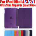 Smart cover para ipad mini4 ultra delgado de cuero de la pu case + pc translucent nuevo case para apple ipad mini 4 3 2 1 im401